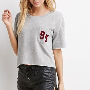 Forever 21 Gray 95 Cropped Short Sleeve Sweatshirt